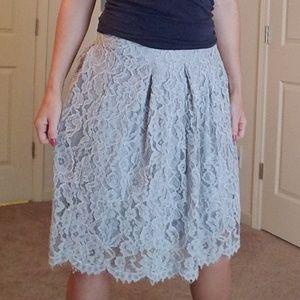 Charlotte Russe Gray Lace Circle Skirt